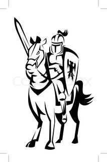 213x320 Silhouette Of Medieval Knight On The Horse, Vector Illustration