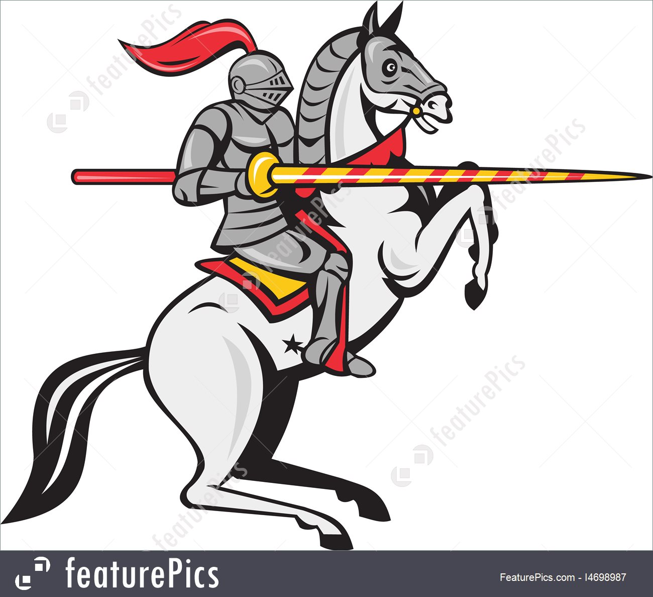 1300x1188 Illustration Of Knight Lance Steed Prancing Isolated Cartoon