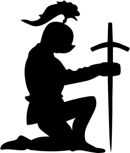 425x500 Knight Kneeling Praying Vinyl Decal Sticker Bumper Car
