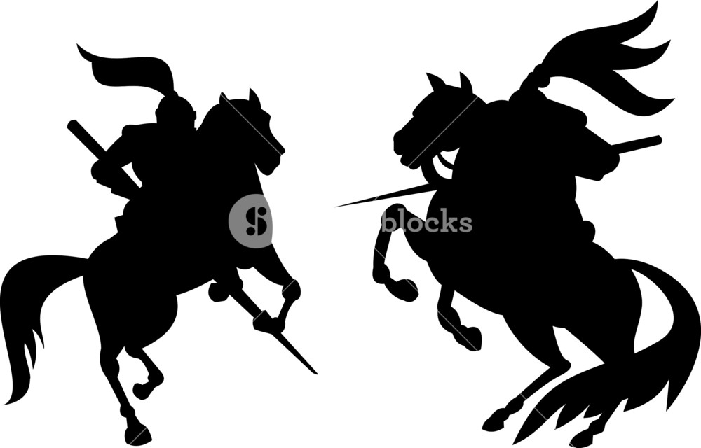 1000x640 Knight Riding Silhouette Royalty Free Stock Image