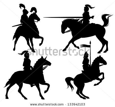 450x420 Knights And Horses Fine Vector Silhouettes