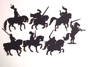 300x225 8 Ass Knights On Horses Die Cut Silhouette Card Topper Ebay