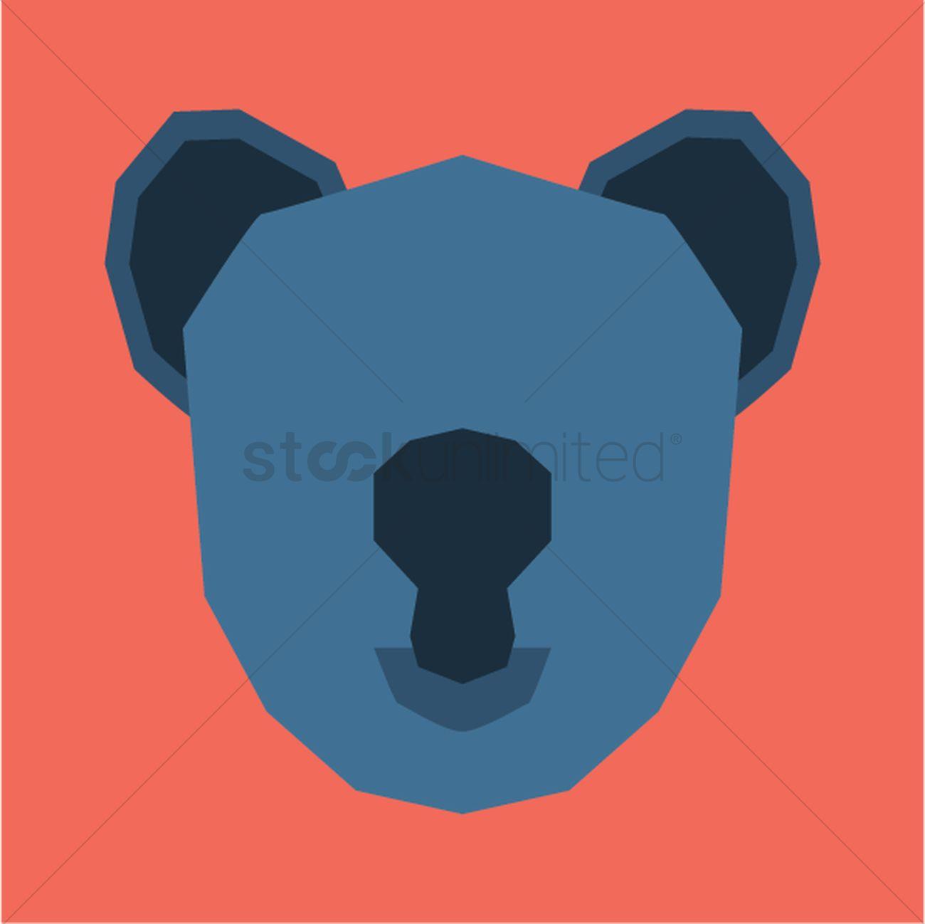 1300x1298 Silhouette Of Koala Face Vector Image
