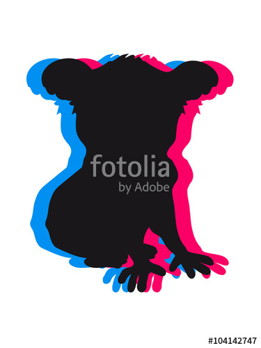 375x500 Design Koala Black Silhouette Cool Comic Sitting Outline Shadow 3d