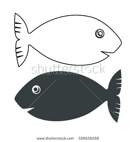 450x470 Hand Drawn Outline Fish Stock Vector Hand Drawn Outline Fish