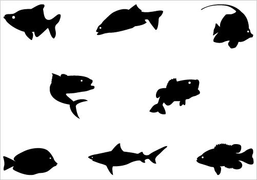 501x351 Fish Silhouette Clip Art Pack Fish Silhouette, Silhouette Art