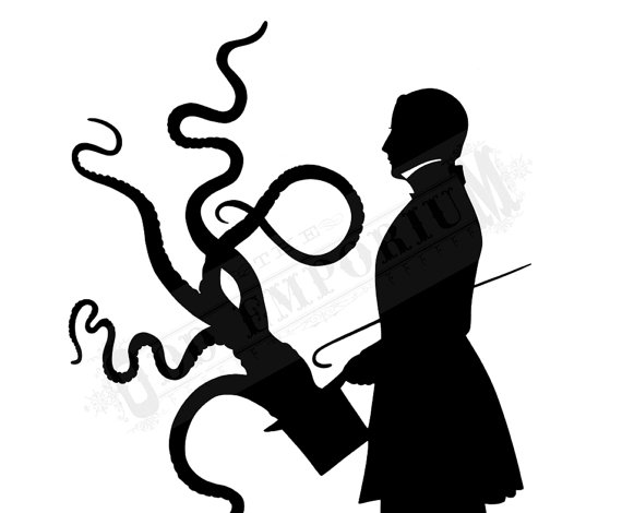 570x470 Octopus Art Print Kraken Silhouette Gentleman Tentacles Top