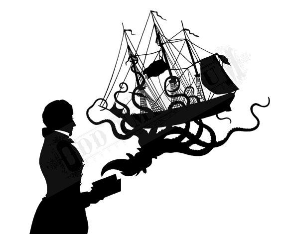 570x470 Silhouette Octopus Art Print Gentleman Book Octopus Kraken