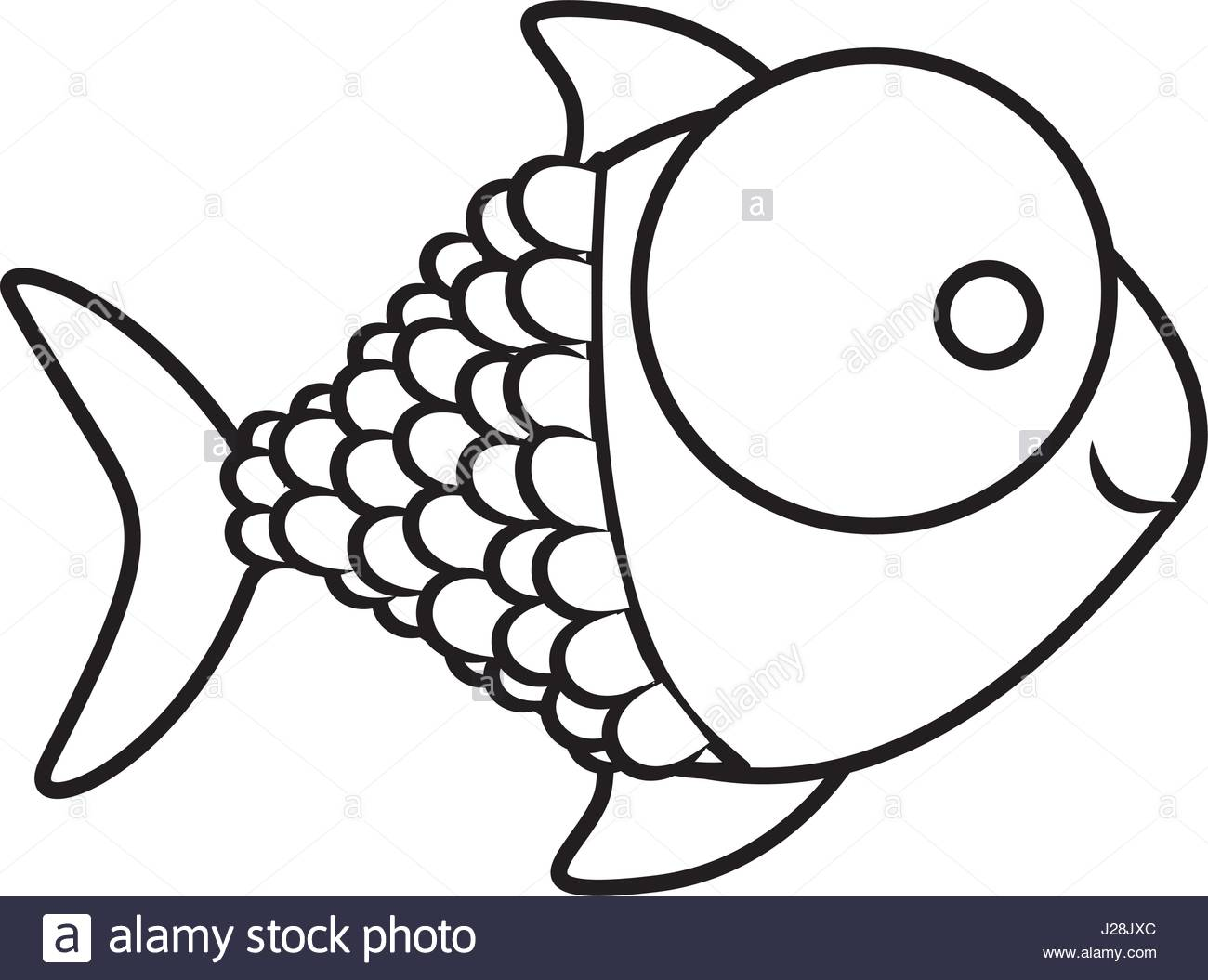 1300x1055 Monochrome Silhouette Of Fish With Big Eye And Scales Stock Vector