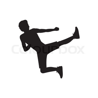 320x320 Vector Man Silhouettes Fighting Kung Fu Stock Vector Colourbox