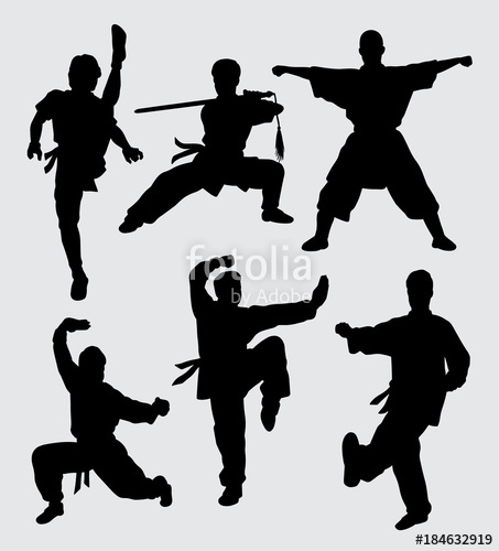 453x500 Kungfu And Martial Art Silhouette. Good Use For Symbol, Logo, Web