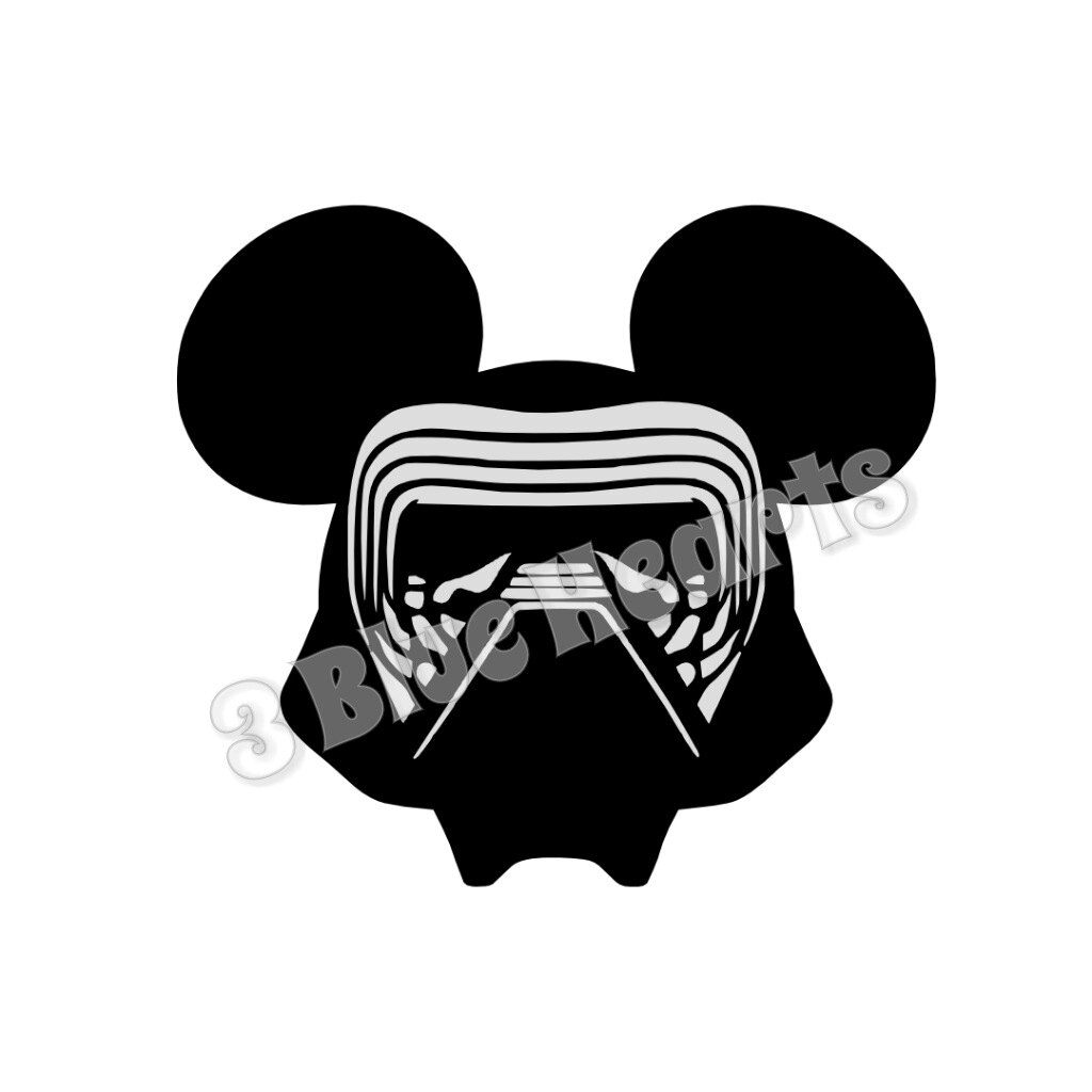 1024x1024 Kylo Ren Mickey Head Star Wars Mickey Head Kylo Ren Svg Dxf