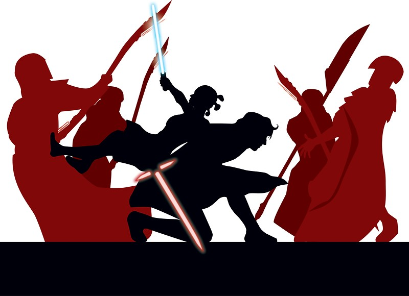 800x580 Kylo Ren And Rey Vs. Snoke's Praetorian Guard Stickers By