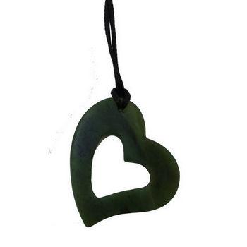 350x350 Nz Greenstone Silhouette Heart Pendant