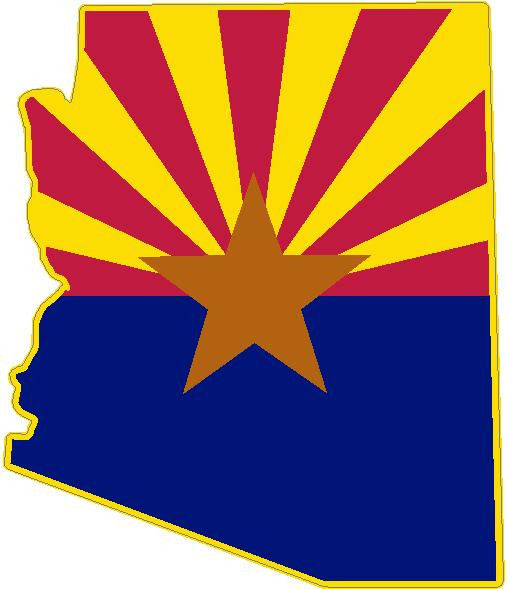 507x589 Arizona State Flag Vinyl Sticker Decal Az Outline Silhouette