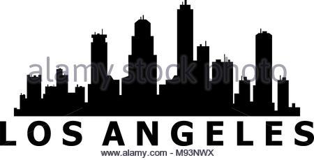 450x229 Los Angeles City Skyline Detailed Silhouette Stock Vector Art