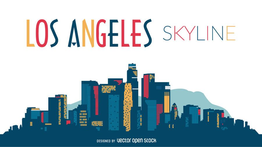 900x506 Los Angeles Skyline Silhouette Design Layout Los