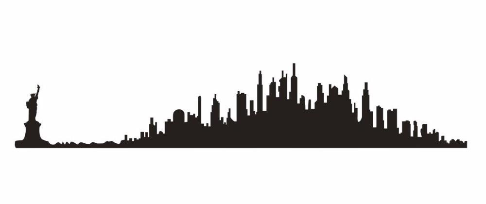 1000x420 Statue Liberty Wall Sticker City Skyline Usa Building Statue