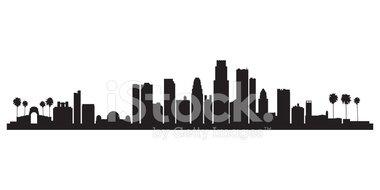380x190 Los Angeles City Skyline Silhouette Background Stock Vectors