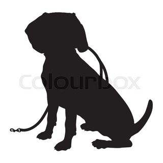 320x320 A Silhouette Of A Sitting Labrador Retriever Holding A Leash