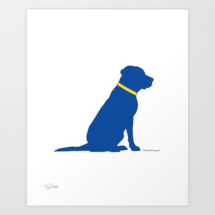 700x700 Modern Lab Silhouette In Greek Blue Art Print By Tracylstephens