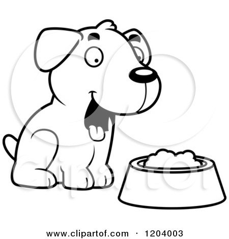 450x470 Cartoon Of A Black And White Cute Labrador Puppy Sitting By Dog