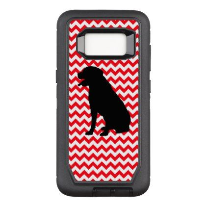 422x422 Fire Truck Red Chevron With Lab Silhouette Otterbox Defender