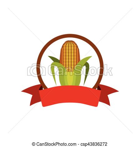 450x470 Label Silhouette Colorful With Corn Vector Illustration Vectors
