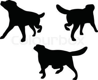 320x262 Vector Silhouette Setter On White Background Stock Vector