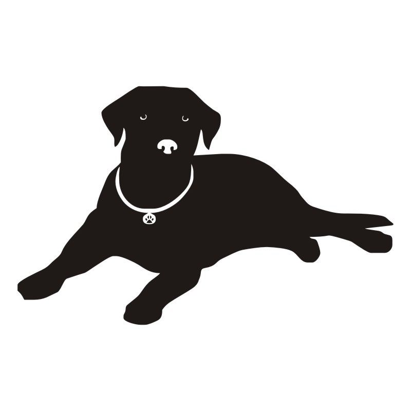 800x800 Lying Dog Decal Labrador Silhouette Vinyl Wall Decals For Living