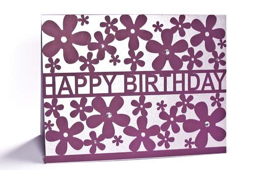 500x334 Silhouette Lace Card Happy Birthday Flowers