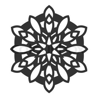 320x320 Black Decorative Round Ornament. Lace. Silhouette Of Snowflake