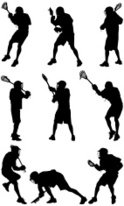 124x206 Multiple Silhouettes Of Lacrosse Players Stock Vectors