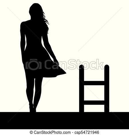 450x470 Woman Silhouette With Ladder On The Roof. Suicide Concept Eps