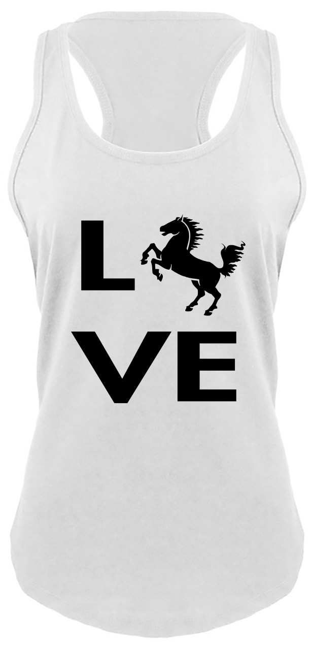 615x1280 Love Horse Silhouette Ladies Tank Top Horse Lover Graphic Tee