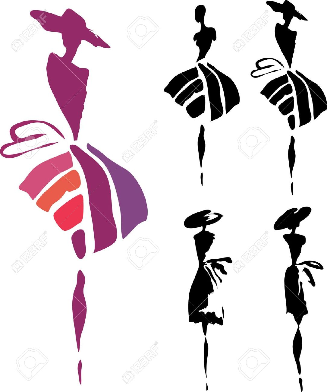 1085x1300 Woman In Dress Silhouette Clipart