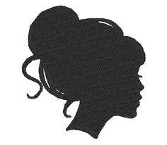 236x206 Face Silhouette Woman Stencil Template