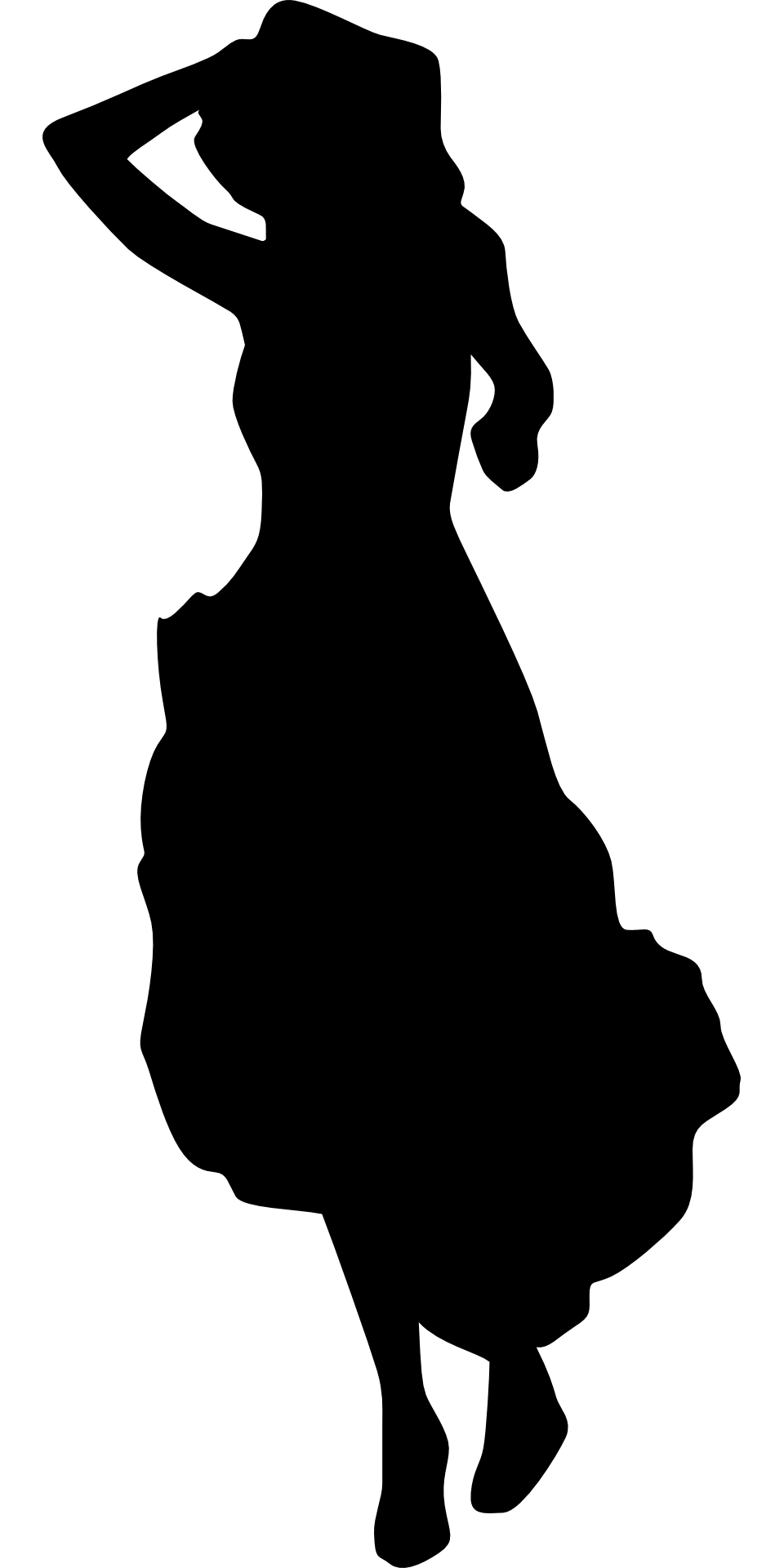 960x1920 Lady Moving Woman Dress Silhouette Black White Drawing Free Image