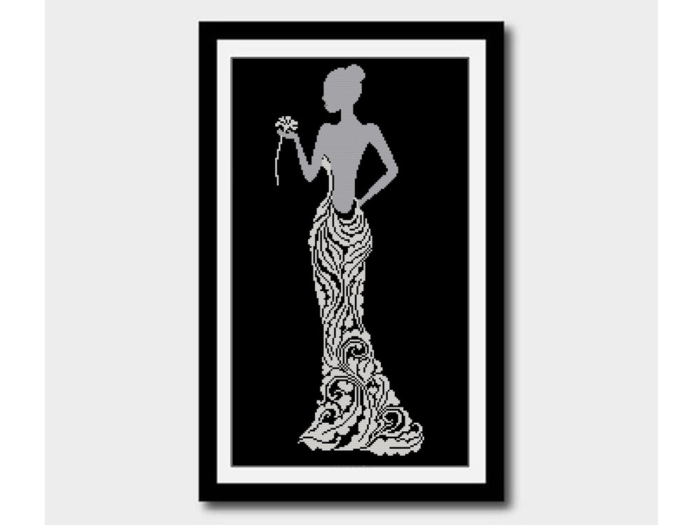 1000x750 Lady With Flower Silhouette, Bride In Red Dress Pattern, Cross