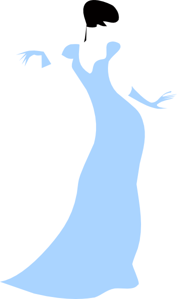 354x598 Lovely Woman In A Blue Dress Clip Art