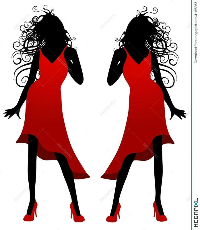 697x800 Lady In Red Dress Silhouette Illustration 4165263