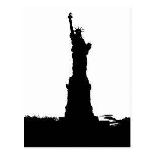 307x307 Silhouette Statue Of Liberty Postcards Zazzle