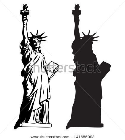 421x470 Statue Of Liberty Outline And Silhouette Vector