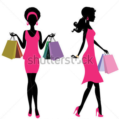 380x380 Black Woman Shopping Clipart
