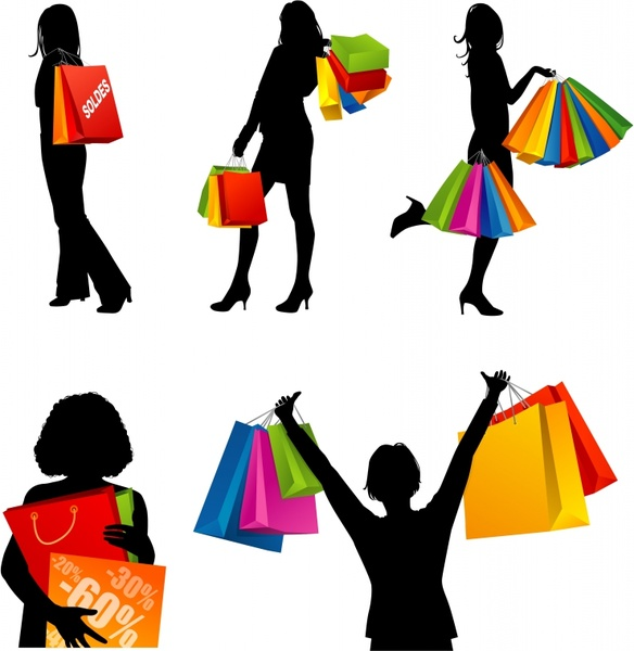 584x600 Shopping Couple Silhouette Free Vector Download (7,305 Free Vector