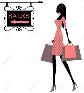 288x320 Black Silhouette Woman Purple Shopping Bag Clipart Fashion