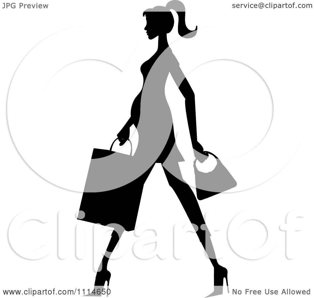 1080x1024 Clipart Slender Silhouetted Pregnant Woman Walking With A Shopping