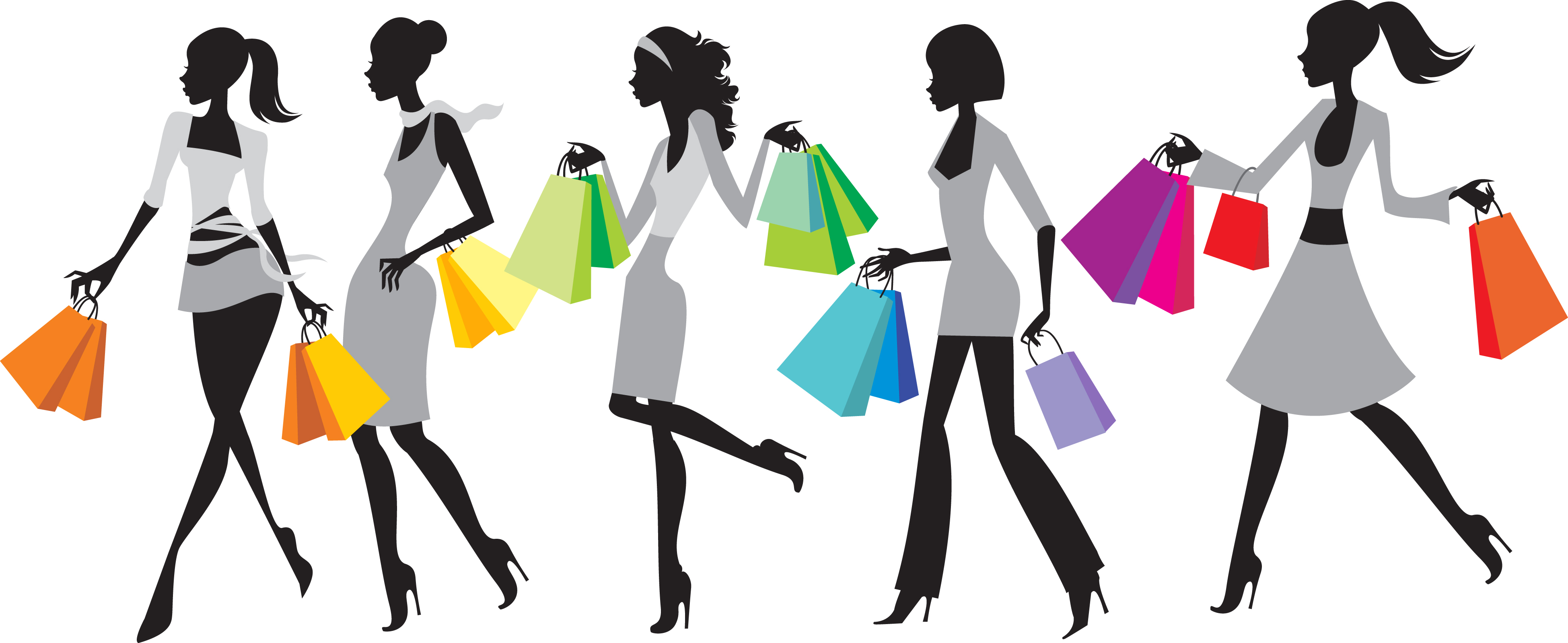3898x1598 Free Clip Art Woman Shopping