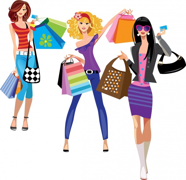 600x581 Female Fashion Trend Of Shopping Bags Vector Illustration