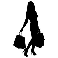 200x200 Silhouette Of A Lady With Shopping Bags Vector Image